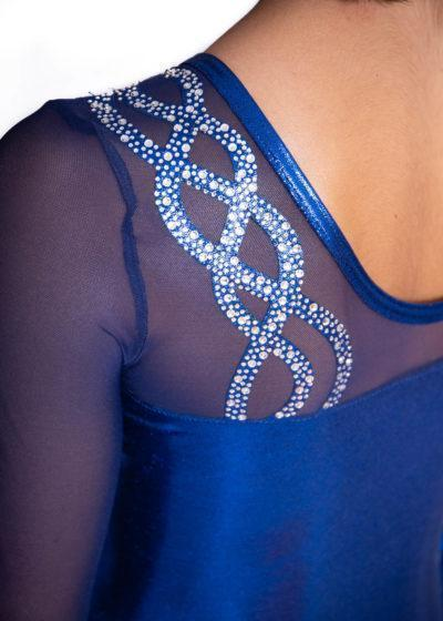 CRYSTAL L269 Navy shimmer sleeved leo with mesh detail 2
