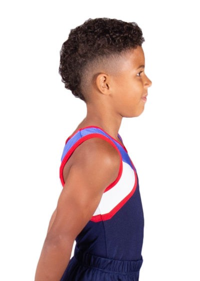 DANNY BV403 MensBoys leotard in Navy White Red and Blue side2