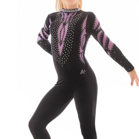 ELISE CS230 Black and purple mesh catsuit rhythmic gymnastics outfit
