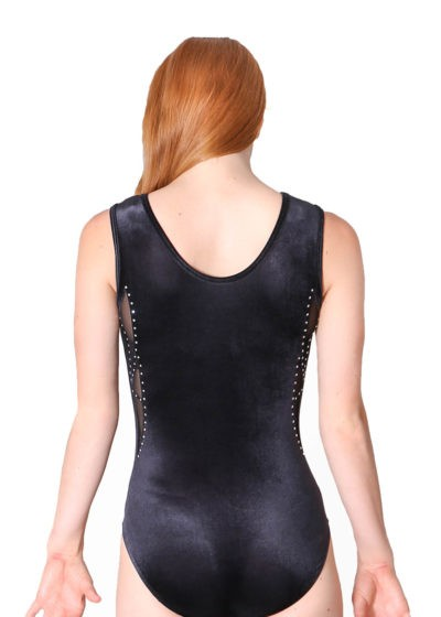 ELISE Z230 Black velour with mesh leotard back 1
