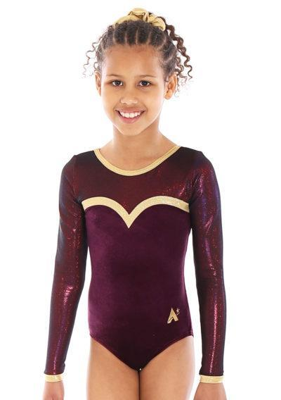 ELOISE L31 Burgundy velour leotard with net and gold detail front