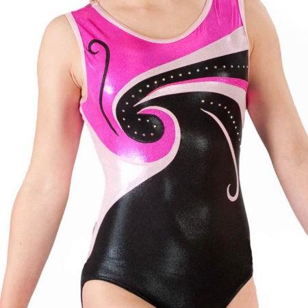 EMILY Z77 Black and pink shimmer sleeveless gymnastics leotard