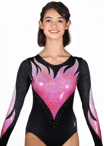 ERIKA K343 black velour ombre flame pink leotard