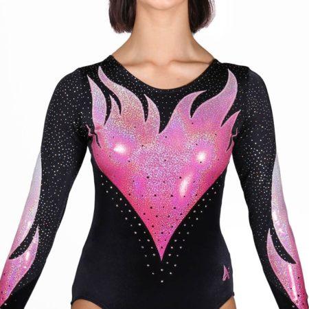 ERIKA K343 black velour ombre flame pinkgymnastics leotard