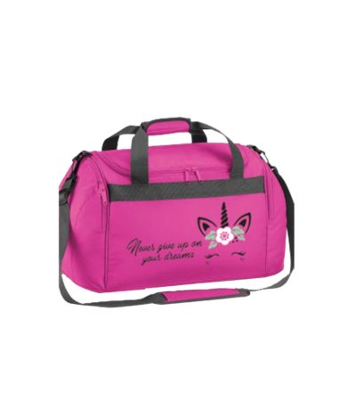 Edited pink holdall never give up on your dreams unicorn