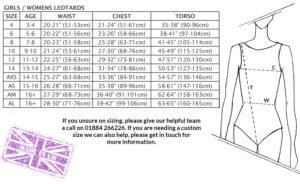 Girls ladies size chart