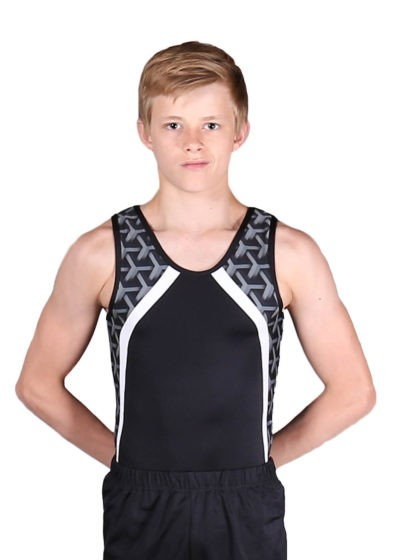 HARRY BV154 Black boys leotard with patterned side front 1
