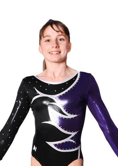 JULIA K211 Black purple competition leotard front Edit