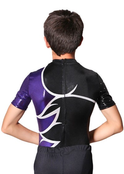JULIAN Boys acro leotard black and purple back 1