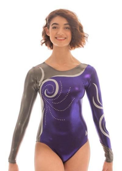 K178 Jessica Purple grey sleeved leotard front 2