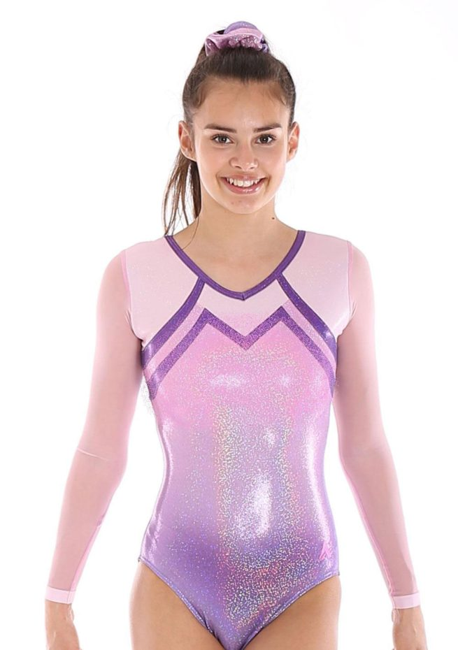 K456 sleeved competition leotard for gymnastics mesh arms