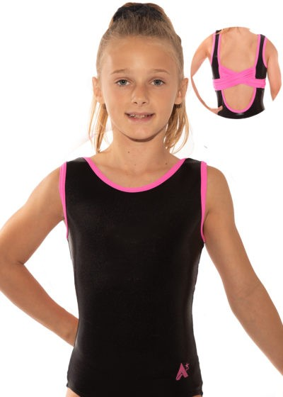 KYLIE Z507 Black and pink open back leotard back 1
