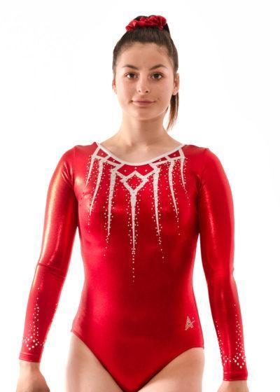 Kaia K457 Red competition leotard for gymnastics front