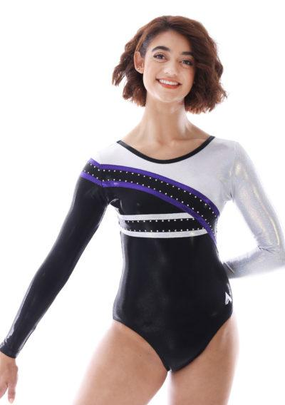 Kennedy K513 black purple and silver long sleeved competition leotard front