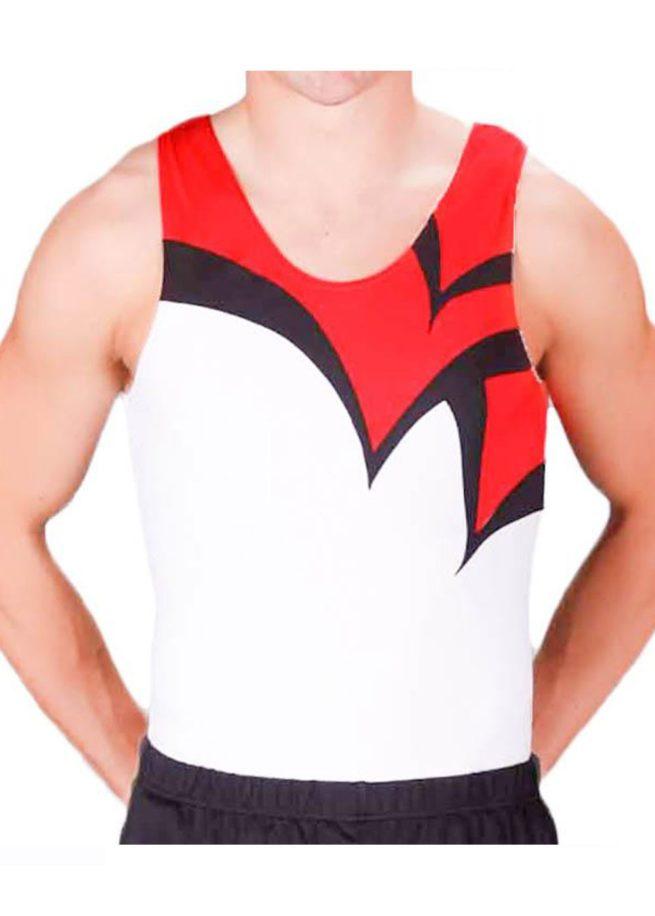 LOGAN BVZ12 White red black boys gym leotard