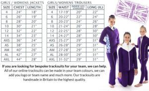 Ladies girls tracksuit size chart