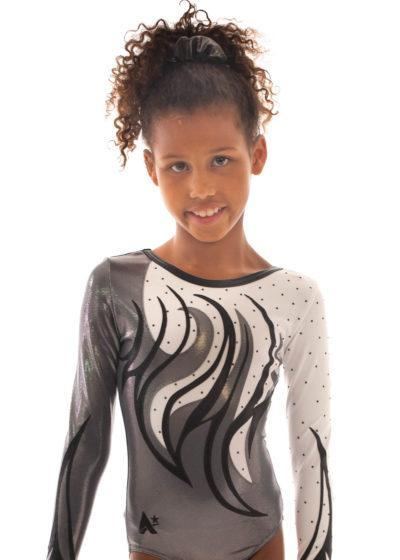 Leah K170 Grey white and black competition leotard 2