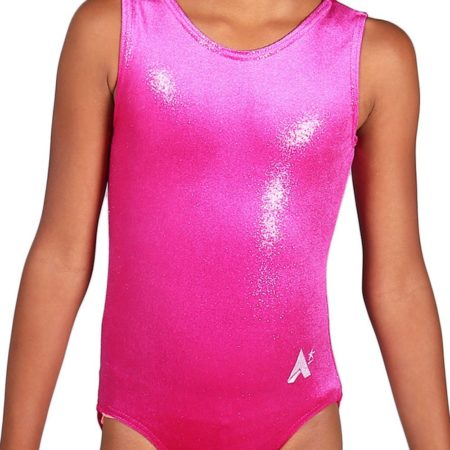 Lipstick pink shimmer velour girls gymnastics training leotard