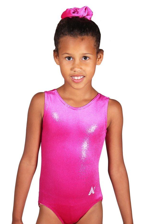 Lipstick pink shimmer velour girls gymnastics training leotard front