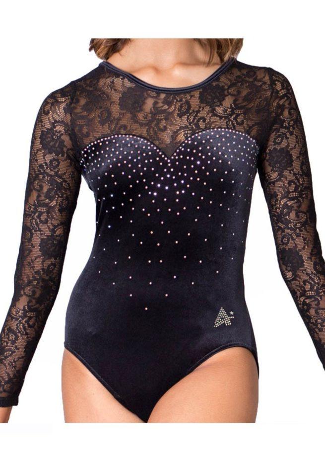 M3F01 K01D black velour and lace long sleeved gymnastics leotard front