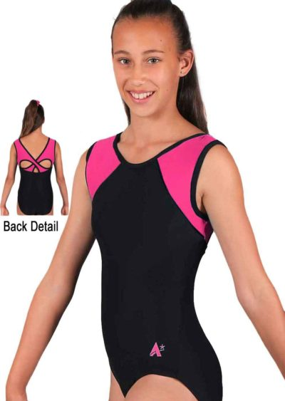 MADISON Z365 BLACK AND PINK MATT OPEN BACK LEOTARD SIDE 1 1