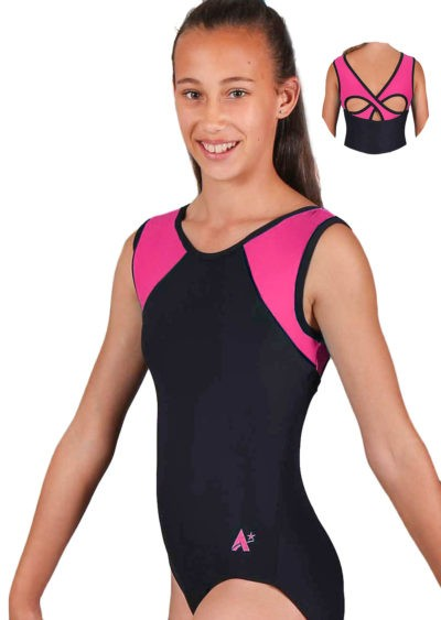 MADISON Z365 BLACK AND PINK MATT OPEN BACK LEOTARD SIDE 2