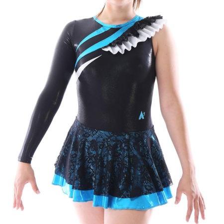 MAJ463 Blue and Black Lace majorette dress skirted leotard gymnastics dress skirted leotard