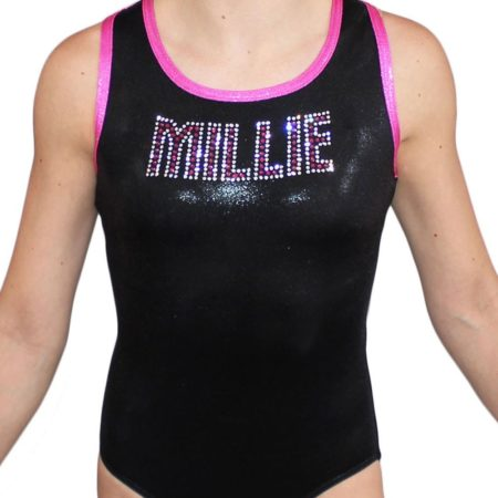MILLIE Z156 Black and Pink Shimmer leotard with diamante name