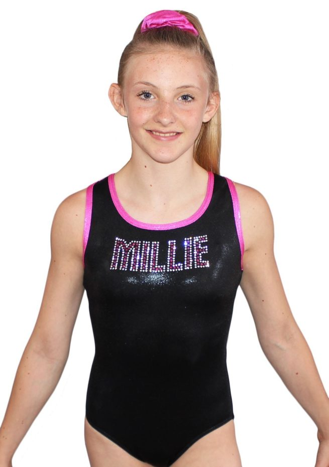 MILLIE Z156 Black and Pink Shimmer leotard with diamante name front