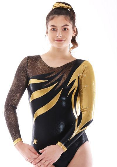 MORGAN K315 Black and gold with patterned mesh arms leotard front
