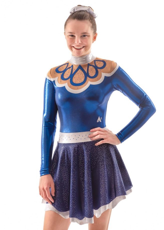 Maelys MAJ504 Navy Skirted Leotard dress majorettes front