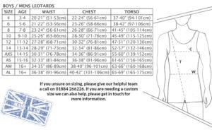 Mens leotard size chart