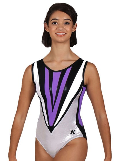 RILEY Z301 Purple sleeveless leotard front