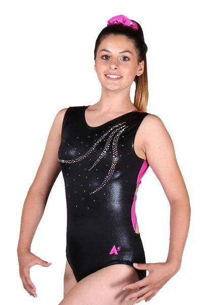 RONA Z261 Black pink open back leotard side