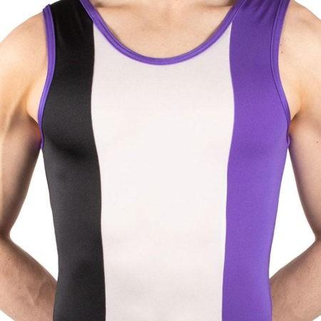 SCOTT BV487 Bright boys gym leotard black white purple
