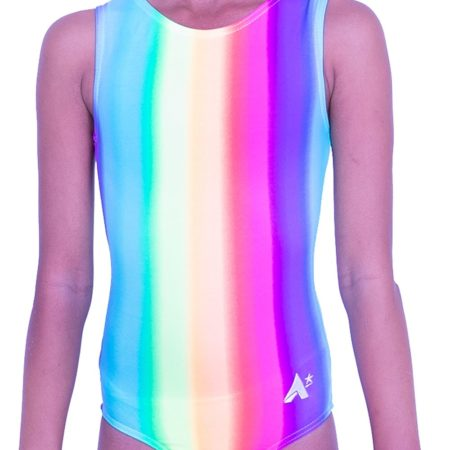 SP L127 girls sleeveless gymnastics leotard rainbow pattern