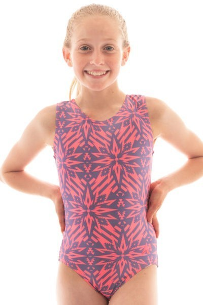 SP L151 denim destiny patterned leotard front