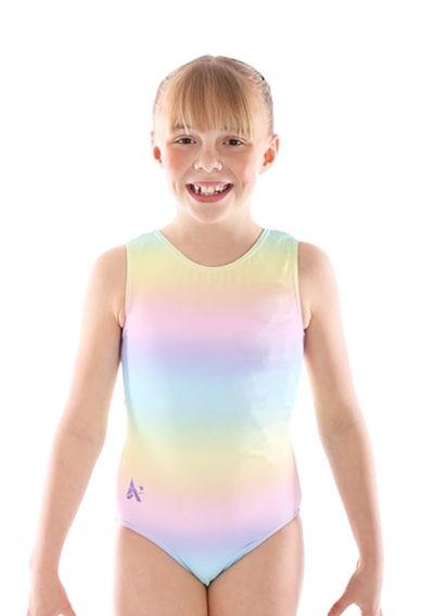 SP L160 girls rainbow pastle gymnastics leotard