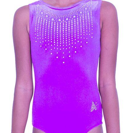 SPF45 D41 girls magenta velour training gymnastics leotard