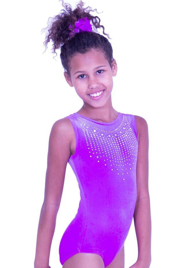 SPF45 D41 pink velour girls soft training leotard with sparkles