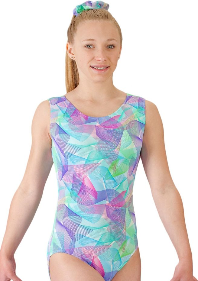 SPIROGRAPH SP L170 Pink and Blue patterened sleeveless leotard front