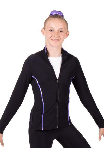 TS12 Black and Purple tracksuit jacket side