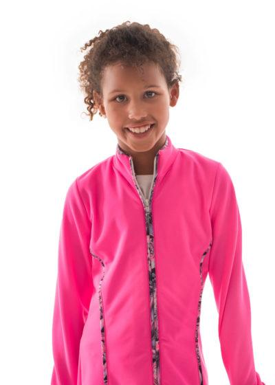 TS12 Hot pink girls tracksuit jacket with piping front
