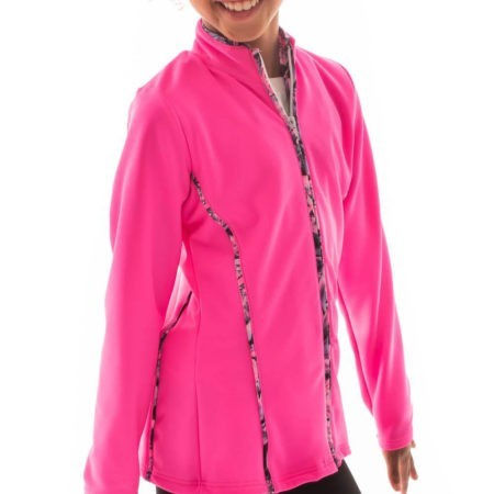 TS12 Hot pink girls tracksuit jacket with piping gymnastics