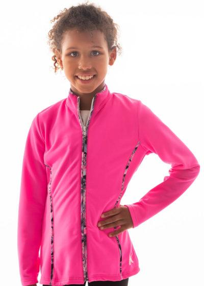 TS12 Hot pink girls tracksuit jacket with piping side1