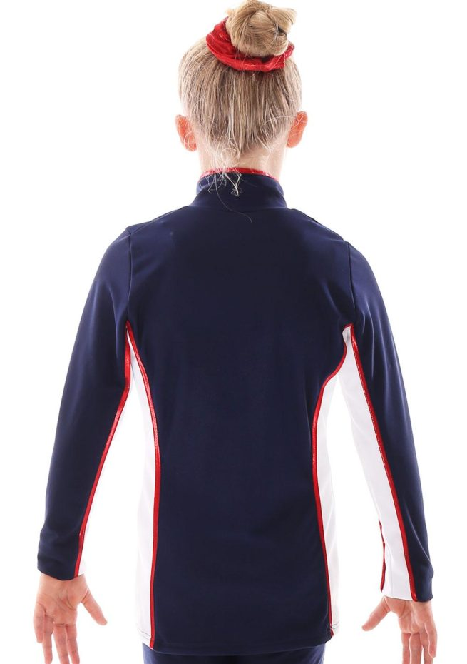 TS12 Navy and white with Red foil detail tracksuit jacket ladies back