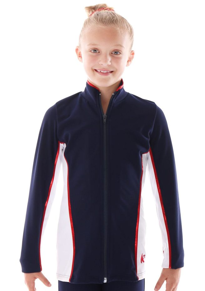 TS12 Navy and white with Red foil detail tracksuit jacket ladies front 1