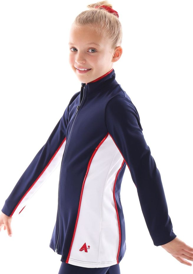 TS12 Navy and white with Red foil detail tracksuit jacket ladies side1