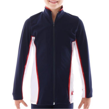TS12 Navy and white with Red foil detail tracksuit jacket ladies sports jacket