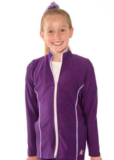 TS12 purple tracksuit jacket with piping detail Front